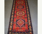 SPRING SALE 1970s Hand-Knotted Ardabil Persian Rug Runner
