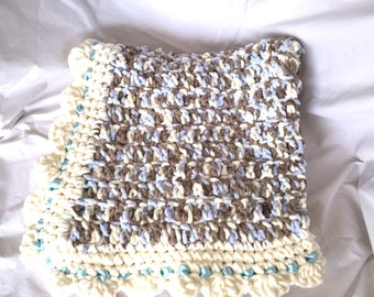 Softest Baby Blue Cream Bernat Blanket Afghan Photo Prop
