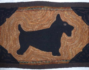 Hand Hooked Wool Scottie Dog Rug