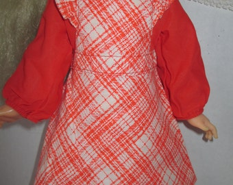 "Orange Plaid Doll Dress for 16"" Ideal Crissy Doll New Old Stock w Tag Panties"