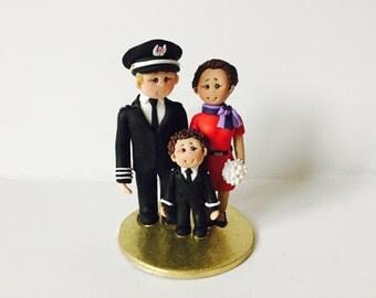 Pilot & Airhostess / Flight attendant wedding cake topper- Custom made bride and groom wedding cake topper