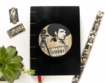 Handmade recycled LP vinyl record journal, A5, vintage vinyl handmade journal music, coptic journal, music notebook, Hollywood wedding