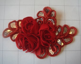 """Red Flower and Sequins Braided Applique 4 1/2"""" by 3 1/4"""""""