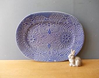 Lace Print Ceramic Plate / Decorative Dish / Ceramic Plate / Blue Lace / Dish / Tray