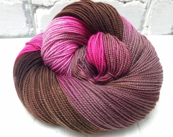 "Hand dyed ""Pink on the Run"" twisted merino sock yarn"