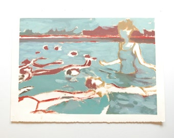 Original oil painting - neutral fine art abstracted swimmers female subject