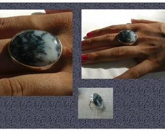 Sterling silver ,ring moss agate, size 8 ,handcrafted