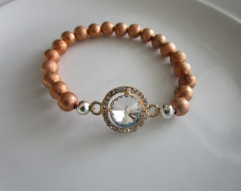 Rose pink gold colored clear bejeweled crystal bracelet, crystal charm, rose gold bracelet, pink gold bracelet, crystal bracelet, crystal