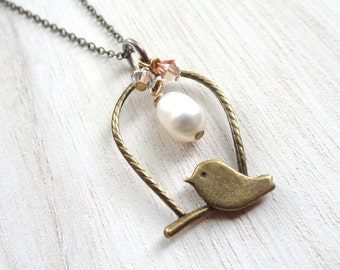 Bronze Bird handmade necklace with freshwater pearl and crystal accents pendant jewelry birdcage charm