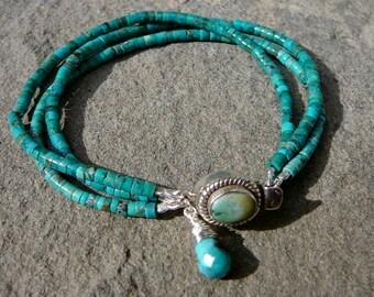 Heishi Beads, Bracelet Turquoise, Sterling Bracelet Beaded Gemstone Multi Strand, Turquoise Bracelet, Turquoise Jewelry, Gemstone Bracelet