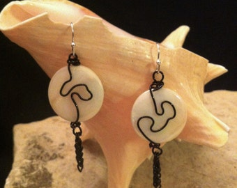 Black Wire Free Form on Pearl Disk earrings
