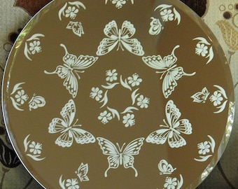 Circle of Butterflies Acid Etched Mirror