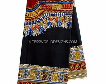 Black Dashiki fabric/ dashiki fabric / Mens dashiki/ African dashiki/ dashiki women/ African fabric/ Soft Smooth 3 panels, Large design DS64