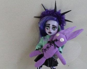 Monster Doll Repaint Pastel Goth OOAK- Alice Avarice