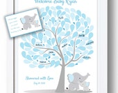 Baby Shower Guest Book - 16x20 Sign-In Tree Poster-ELEPHANT Theme Baby Shower GuestBook Alternative - 100 leaves - READ DESCRIPTION