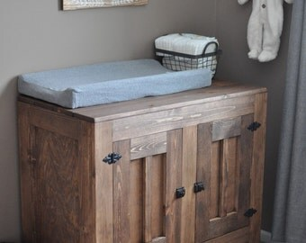 Rustic changing table cabinet
