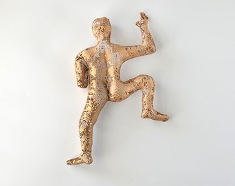 Hanging sculpture - Modern metal art - Climbing man sculpture - wire mesh sculpture - Gold