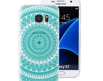Samsung Galaxy S7 Case, Mandala Tribe Clear TPU Bumper Crystal Series (One Piece) Hybrid Unique Designed Teal Green Mandala