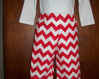 Red Chevron Ruffle Pants in Sizes 6 Months to 8 Years