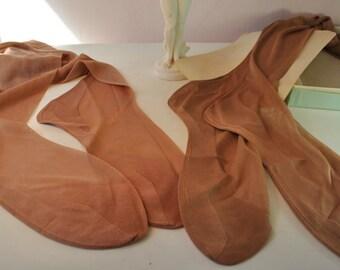NIB BURLESQUE 1940-50 thigh high seamless 10 stockings JACK Frame Inc. 2 pairs never been worn, nylon super sexy vintage stockings garters