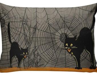 Halloween Pillow, Halloween Decor, Vintage Cat, Creepy, Burlap Cotton Throw Pillow Cover #HA0231
