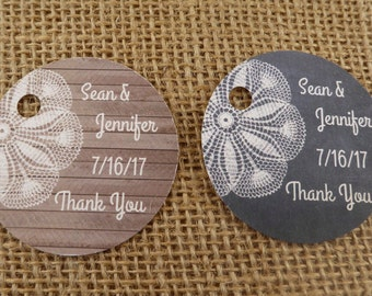 Personalized Favor Tags - 2 Inch Round - Wedding  Favor Tags  - 20 Handmade Tags - Wood or Chalkboard & Lace Design