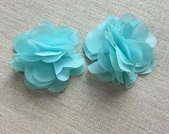 Mint chiffon hair clips