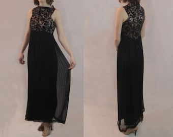 Black Lace and Chiffon Evening Gown - 1960s