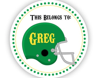Name Tag Stickers - Green Yellow, Sport Helmet Baseball Football Name Label Stickers - This Belongs to Stickers - Back to School Name Labels