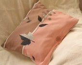 Vintage Retro Graphic Upcycled Tablecloth Pink brown black pillow  12.5x14.5