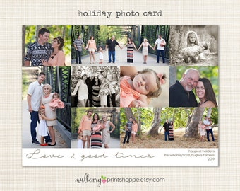 Family Christmas Photo Collage Card - Printable or Printed Holiday Cards/ Announcement- 2015 - COLORS CHANGEABLE