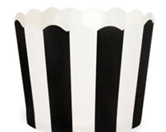 BAKING CUPS - Black and White Stripe - Set of 25 : The Paper Doll