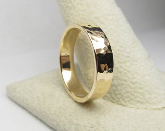 14K Gold Ring Solid Gold Ring Textured Wedding Ring Wedding Band Size 7.75
