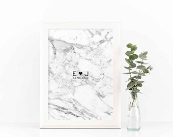 Family tree print retro heart typography personalized family for Minimalist gifts for housewarming