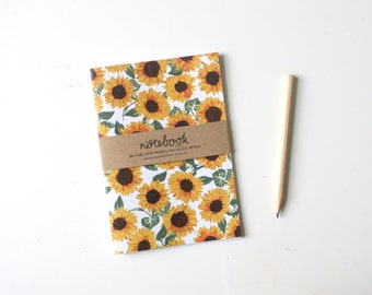 A6 notebook, sunflower pattern, lined paper, floral, print notepad, recycled