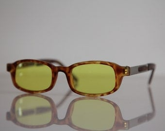 Vintage 90s Brown Frame, Silver temples,  Yellow Lenses