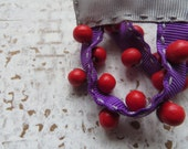 sunday / purple earrings / red wooden beads earrings / geometric earrings / grey earrings / textile earrings