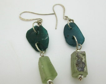 Ancient Roman Glass Modern Dangle Earrings