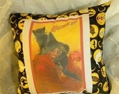 50% OFF SALE Handmade Halloween Quilt Block Pillow, Vintage Halloween Print with Witch and Black Cat 15 x 15 Insert Included