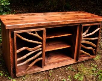 Rustic TV Media Entertainment Table  Red Pine Wood Log Cabin Adirondack Furniture Free Shipping