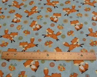 Blue Fox Woodland Cotton Fabric by the Yard