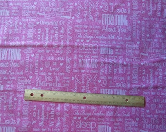 Pink Baby Girl Words/Phrases Cotton Fabric by the Yard
