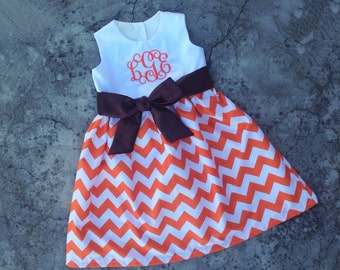 Girls thanksgiving outfit, baby girl fall outfit, Orange and brown thanksgiving dress, monogrammed baby dress, toddler girl clothes,