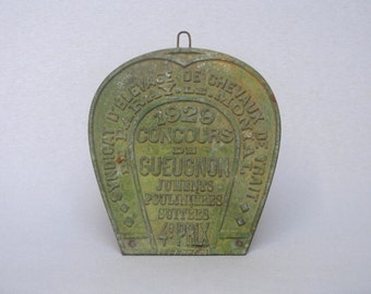 Early Vintage French Award Plaque for horse breeding, dated 1929