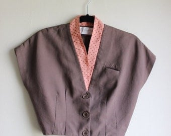 Dapper Cropped Jacket with Cap Sleeves and Polka Dot Trim ||| 1950s ||| Small