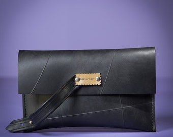 Palm Bag // Upcycled Bag // Recycled Inner Tubes // Black Clutch