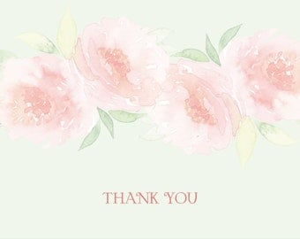Soft Floral Bridal Shower Thank You Notes