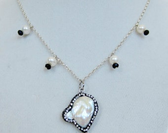 Mabe Pearl & Crystal Necklace