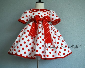 Shirley Temple Costume, Shirley Temple Dress, Shirley Temple, Shirley Temple Polka Dot Dress, Red and White Polka Dot Dress, Halloween