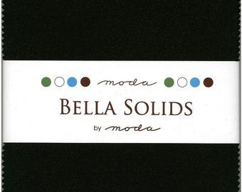Bella Solids Black Charm Pack, Set of 42 5-inch Precut Cotton Fabric Squares (9900PP-99)